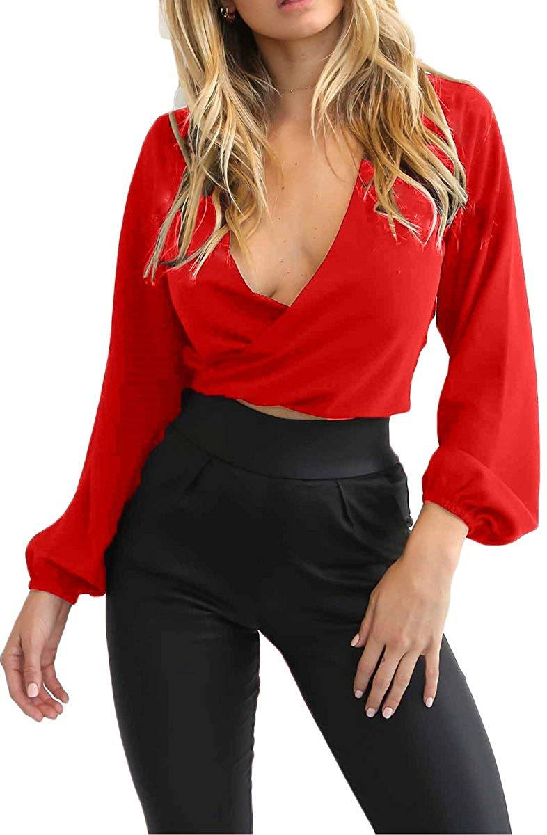Almaree Women's Wrap Front Tie Back Deep V Neck Long Sleeve Crop Tops Blouse