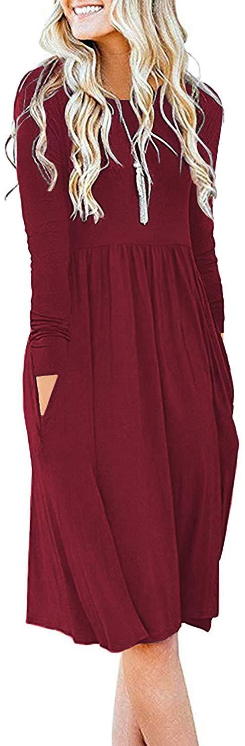 DB MOON Women Casual Long Sleeve Dresses Loose Plain Pleated Dress with Pockets 1