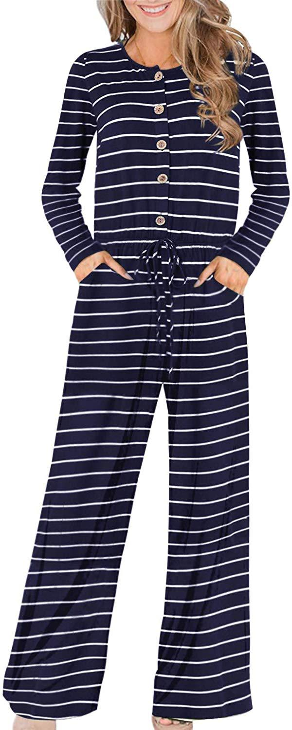 Auxo Womens Jumper Wide Legs Short Sleeve One Piece Jumpsuit Romper with Pockets