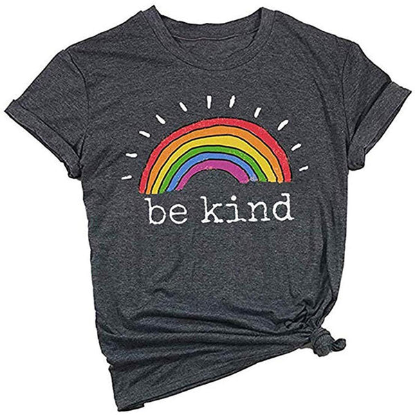 Mahrokh Be Kind Shirt Womens Rainbow Tees Inspirational T Shirts Casual Short Sleeve Tops