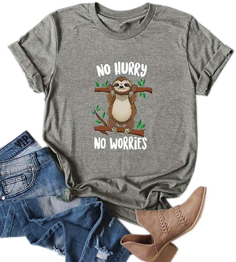 Womens Cute Funny Sloth No Hurry No Worries Print Short Sleeve Graphic T-Shirts (Way Off,Order 3 Size Up)