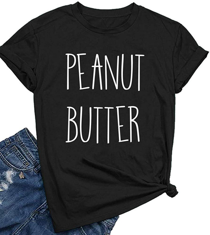 BLACKOO Women Peanut Butter Graphic Tee Shirts Cute Funny Tops