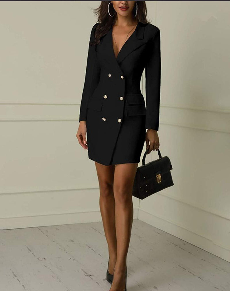 Women's British Double Breasted Turn Down Collar OL Blazer Dress Slim Fit Office Dress Mini Long Trench Coat