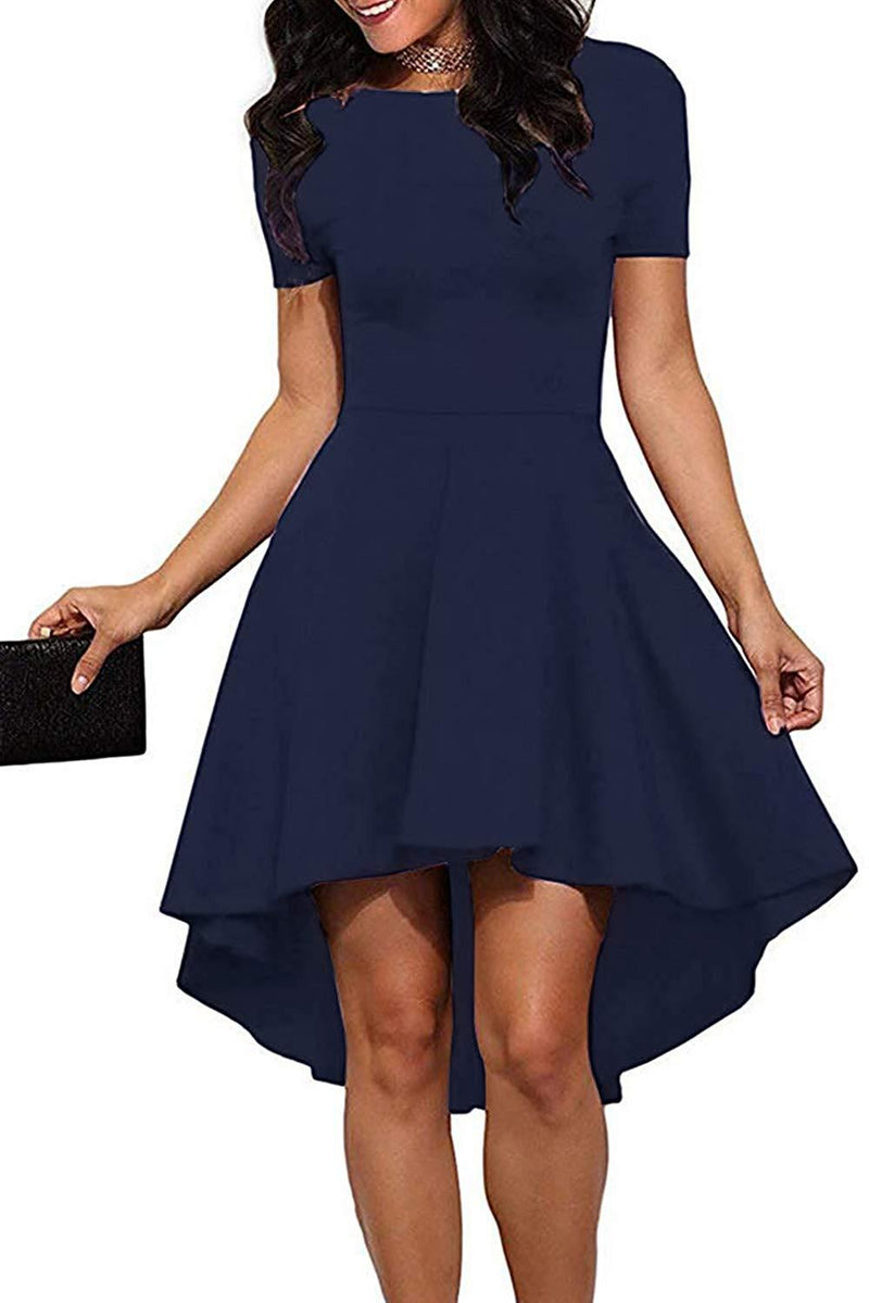Genhoo Women Off Shoulder High Low Elegant Skater Swing Cocktail Dress Wedding Party Prom Dress