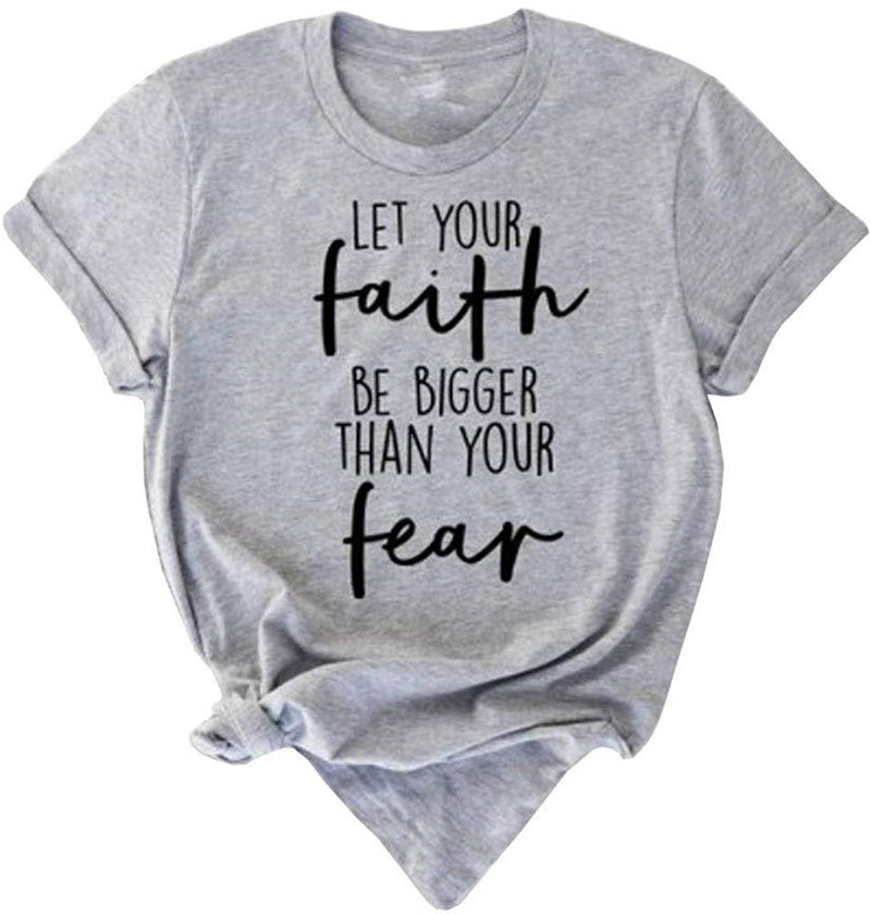 Sovelen Womens Faith Fear Letter Printed T Shirts Summer Casual Short Sleeve Graphic Tees Tops