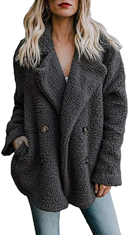 PERFURM Womens Casual Fleece Open Front Trench Coat Fashion Lapel Oversized Jacket Winter Thick Warm Furry Outerwear
