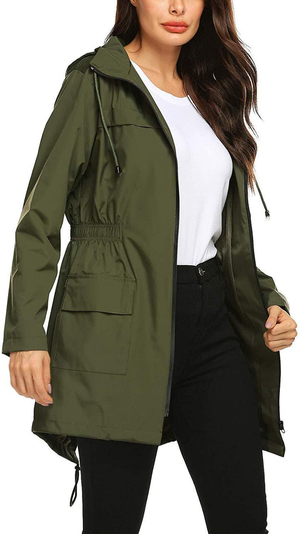 Avoogue Women Raincoat Waterproof Windbreaker Lined Rain Jacket Lightweight Trench Coats S-XXL
