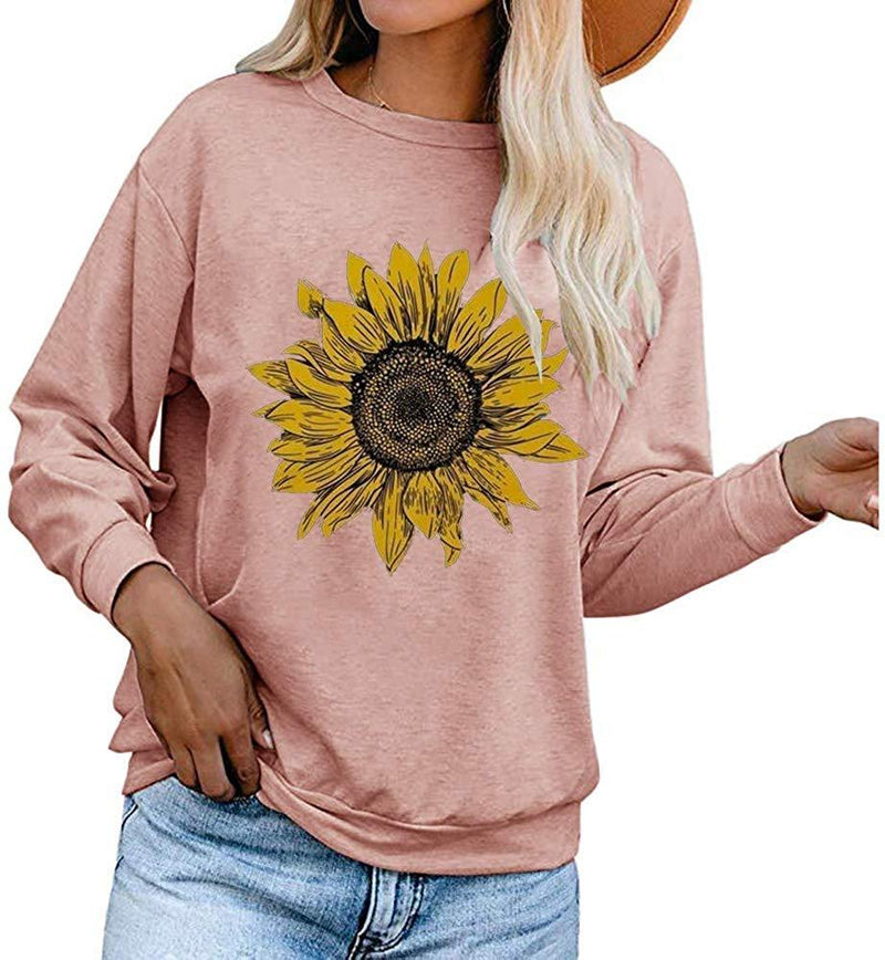 Aurgelmir Women's Cute Graphic Sweatshirts Sunflower Print Long Sleeve Crewneck Casual Pullover Tops