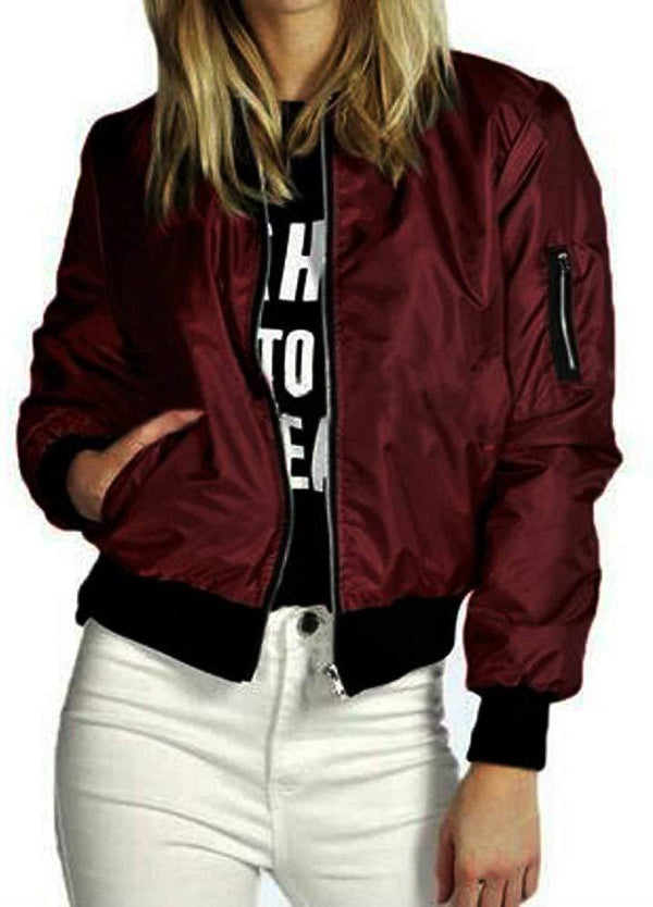 Women Jacket ! Auwer Womens Classic Bomber Jacket Ladies Vintage Zip up Biker Coat Stylish