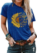 Pukemark Women's Tops Cute Graphic Letter Print Summer Casual Cotton T-Shirt Sunflower Short Sleeve Round Neck Tees