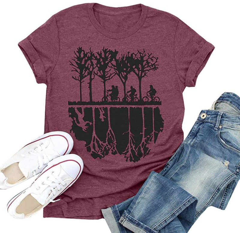 Pfvkeree Women Stranger Things Tee Shirts Upside Down Graphic Casual T-Shirt