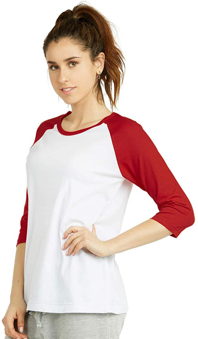 Cottonbell Women's Baseball Quarter Sleeve Tee Shirt