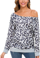 GSVIBK Womens Off Shoulder Sweatshirt Long Sleeve Black Sweatshirts Leopard Print Tops Slouchy Pullover Shirts