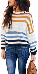 GinkgoTree Womens Crew Neck Color Block Striped Oversized Sweaters Casual Long Sleeve Loose Lightweight Pullover Tops