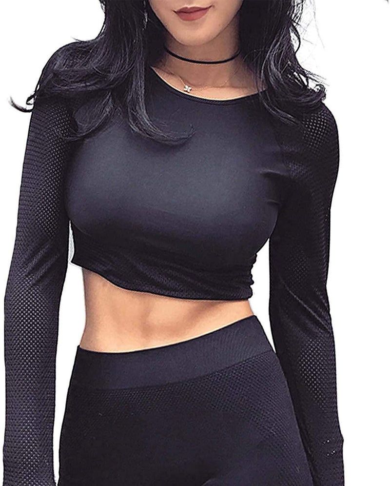 COLO Long Sleeve Crop Tops for Women - Activewear Workout Yoga Gym Top Lounge T Shirts