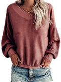 Anoir Women's V Neck Long Sleeve Waffle Knit Top Off Shoulder Pullover Sweater Casual Sweater