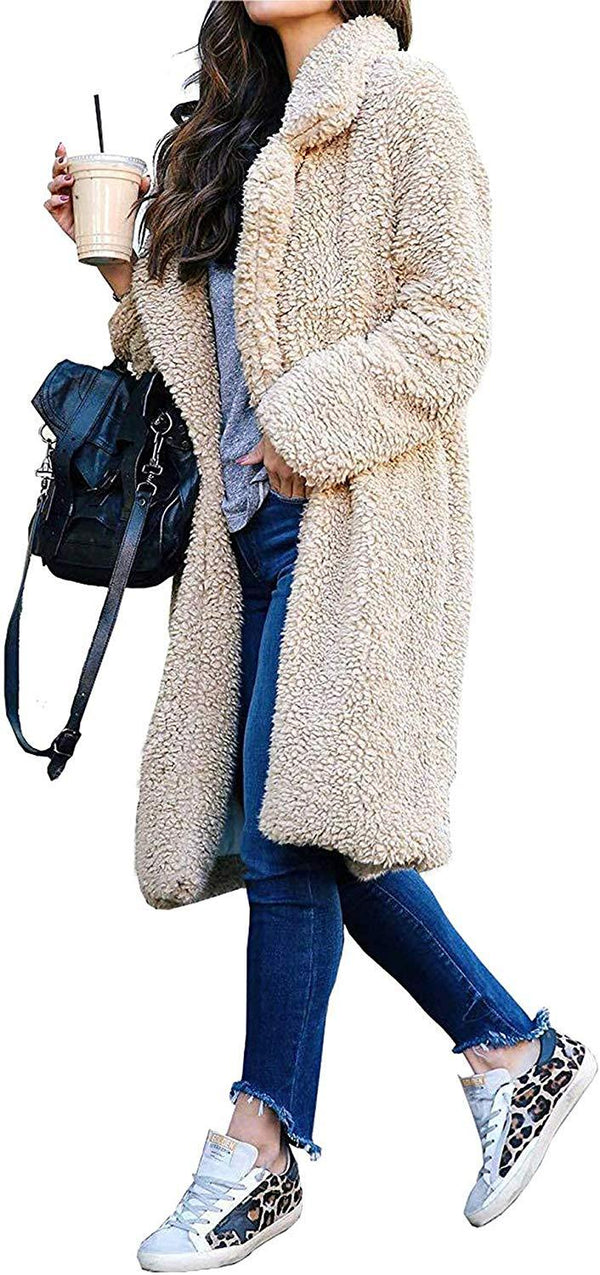 Women Long Cardigan Open Front Faux Fur Coats Fuzzy Fleece Warm Winter Jackets