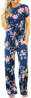 RichCoco Women's Floral Printed Jumpsuit Casual O Neck Loose Long Wide Legs Pants Jumpsuit Rompers with Pockets