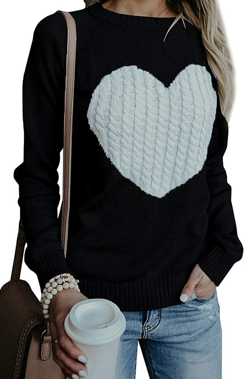 BARFFARI Womens Casual Cable Knitted Crewneck Heart Love Oversized Pullover Sweater