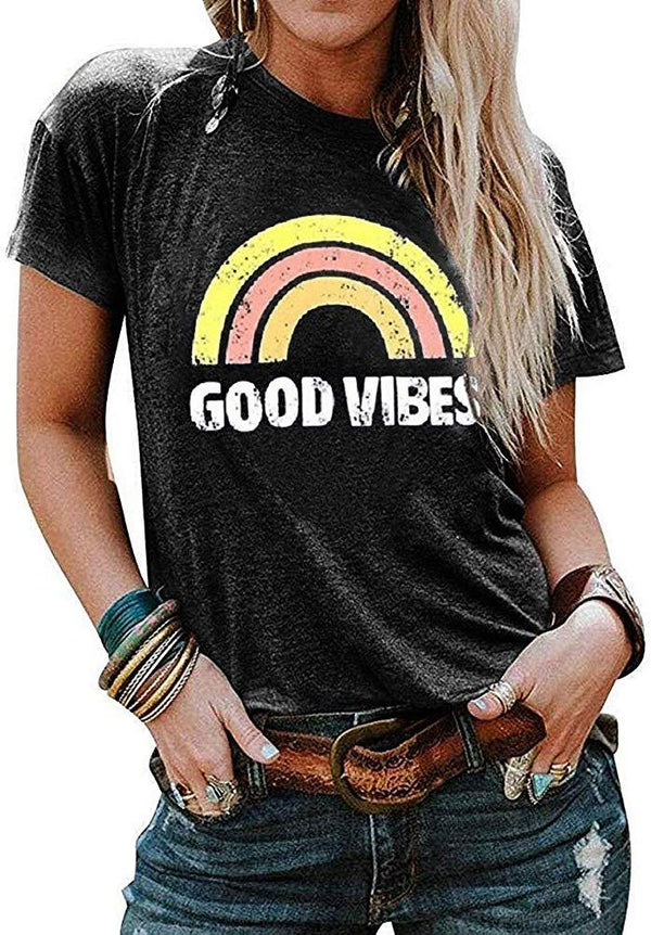 Cicy Bell Women's Letter Printed Rainbow Graphic Tees Good Vibes Casual O Neck Short Sleeve T-Shirts Tops