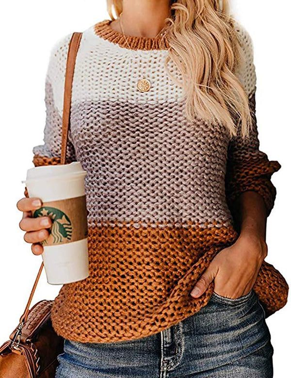 EasySmile Womens Oversized Sweater Chunky Knitted Fall Color Block Warm Striped Crewneck Casual Pullover Tops