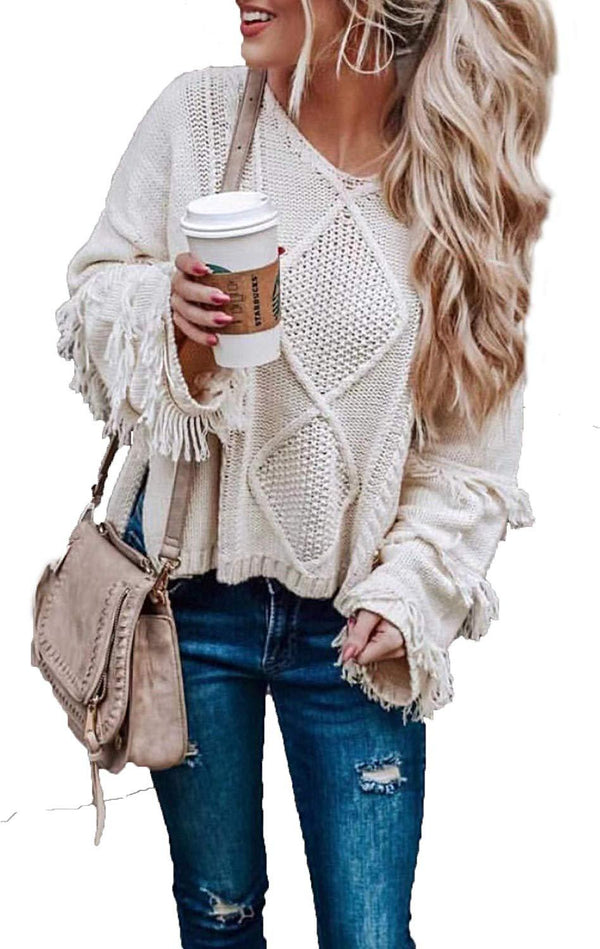 HZSONNE Women's Casual V Neck Tassel Bell Long Sleeve Boho Loose Kimono Cable Knit Pullover Sweater Jumper Tops