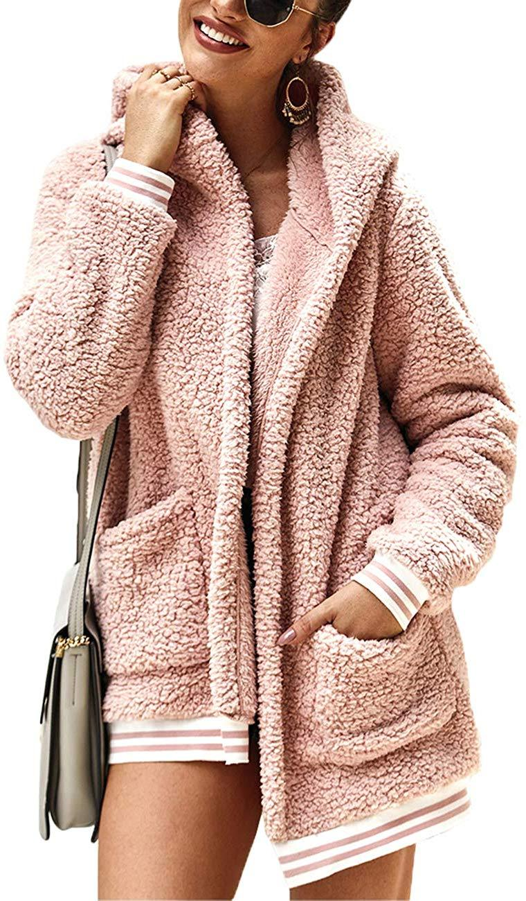 Rainlin Women Winter Sherpa Jacket Fleece Fuzzy Hooded Coat Faux Fur Outwear Tops with Pockets
