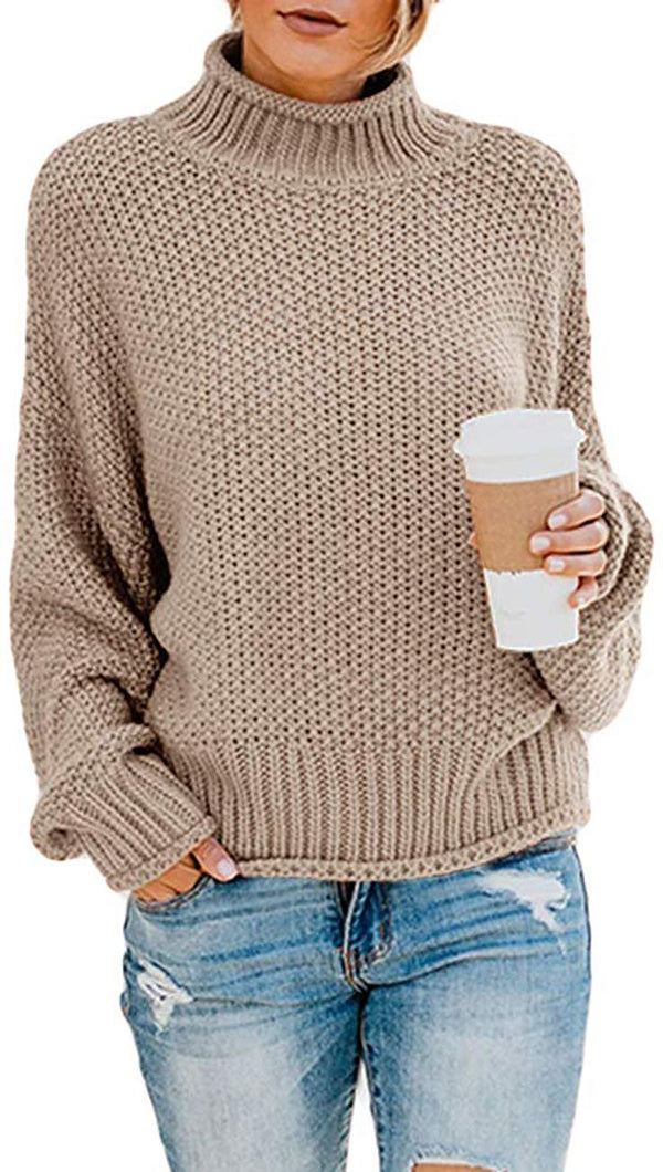 Rainlin Women Pullover Sweater Ribbed Turtleneck Sweater Casual Long Sleeve Knitted Jumper Tops
