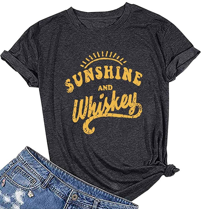 MAXTREE WomenSunshine and Wiskey Graphic Cute T Shirts Funny Tees