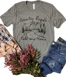KIDDAD Women's Country Roads Take Me Home Letters Print Graphic Funny T Shirt Country Music Casual Tees Tops