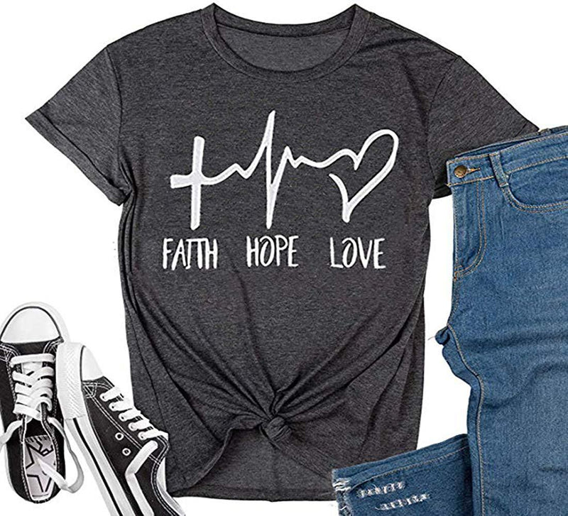Earlymemb Womens Faith Hope Love Printed T-Shirt Casual Summer Graphic Tee Tops