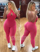 SEASUM Women Texture Bodysuit Sleevesless Sport One-Piece Backless Sexy Slimming Bodycon Rompers Jumpsuit