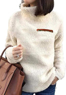 Kikibell Sherpa Jacket Women Casual Pullover Soft Fuzzy Fleece Sweatshirt Shearling Casual Loose Coat