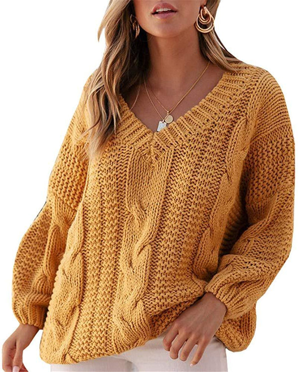 Cicy Bell Women's V Neck Casual Pullover Sweaters Oversized Cable Knit Long Sleeve Jumper Tops