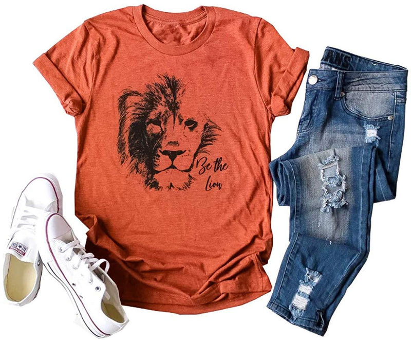Deyuanjiagou Women's Lion King Casual Tees Summer Fashion Animal Graphic T-Shirt Top