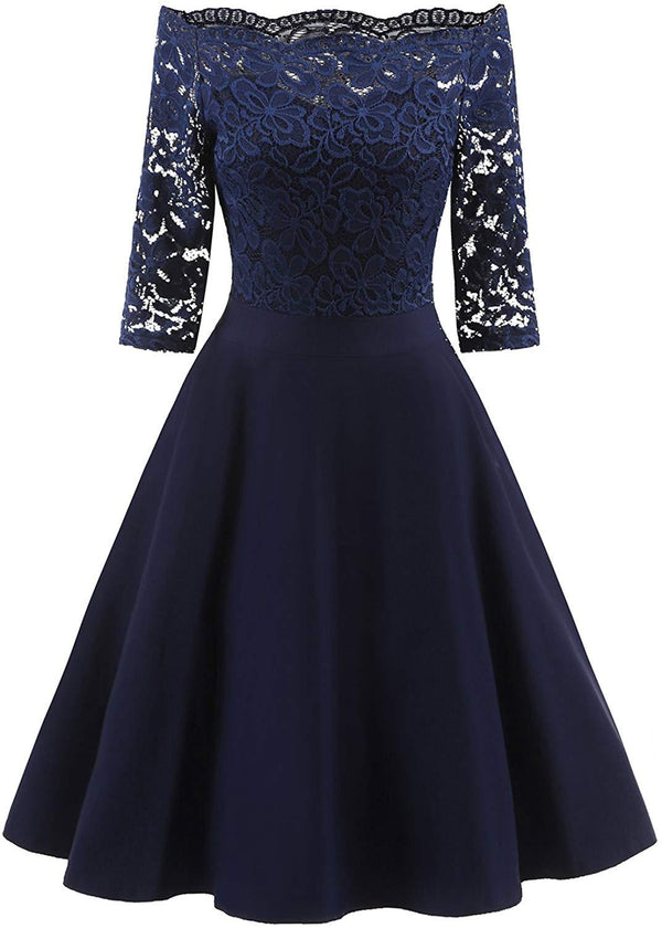 EvoLand Women's Lace Cocktail Evening Party Dress