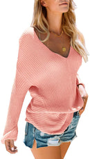 Lynwitkui Women's V Neck Sweaters Oversized Fall Winter Chunky Sexy Knit Pullover Jumper Tops