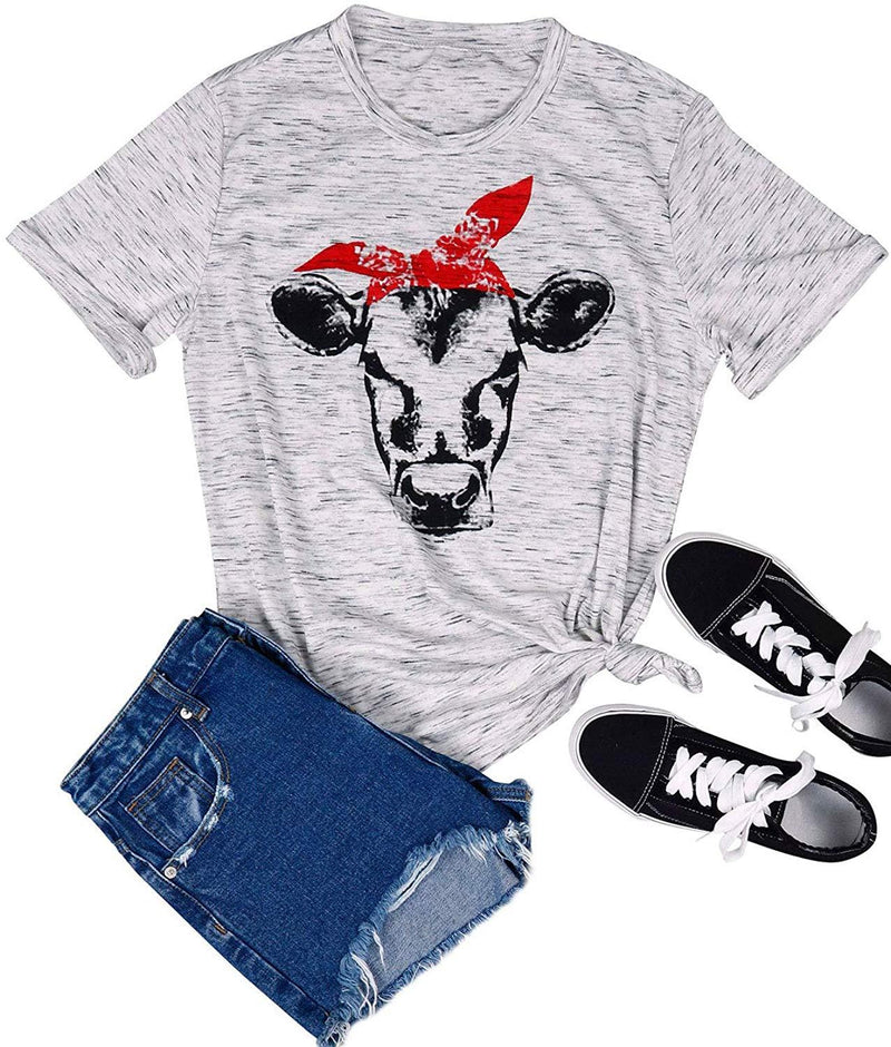 SCX Women Loose Round Neck Tees Cow Head with Bowknot Tees Cartoon Print Skinny Cow T Shirts