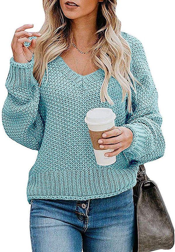 Kinlonsair Women's Oversized Mockneck/V-Neck Batwing Long Sleeve Loose Fit Chunky Knit Jumper Pullover Sweaters