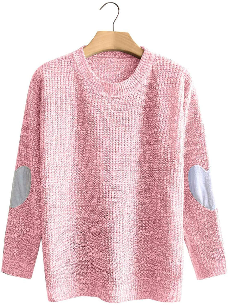 Arjungo Women's Cute Heart Pattern Elbow Patch Long Sleeve Lightweight Marled Pullover Sweater Top