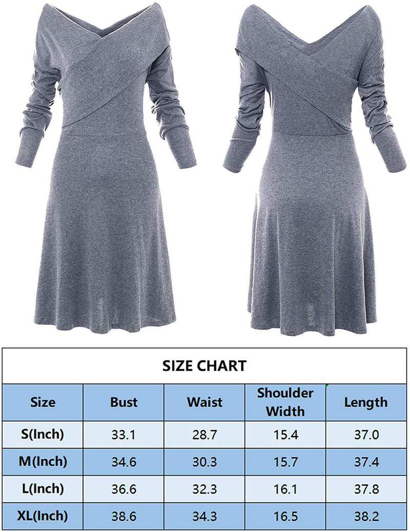 HHIMNO Women's V Neck Off Shoulder Wrap Midi Dress Casual Long Sleeve Fall Dresses