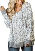 Damissly Women's Fuzzy Pullover Hoodie Oversized Fluffy Jumpers Sweatshirts Plush Sweaters Casual Drawstring Fall Winter Coat