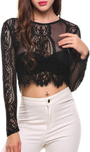 SoTeer Women's Fashion Slim Fit Lace Long Sleeve/Short Sleeve Sexy Sheer Blouse Mesh Lace Crop Top Shirt (S-XXL)