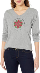 Life is Good Womens Holiday Graphic V-Neck Long Sleeve T-Shirts