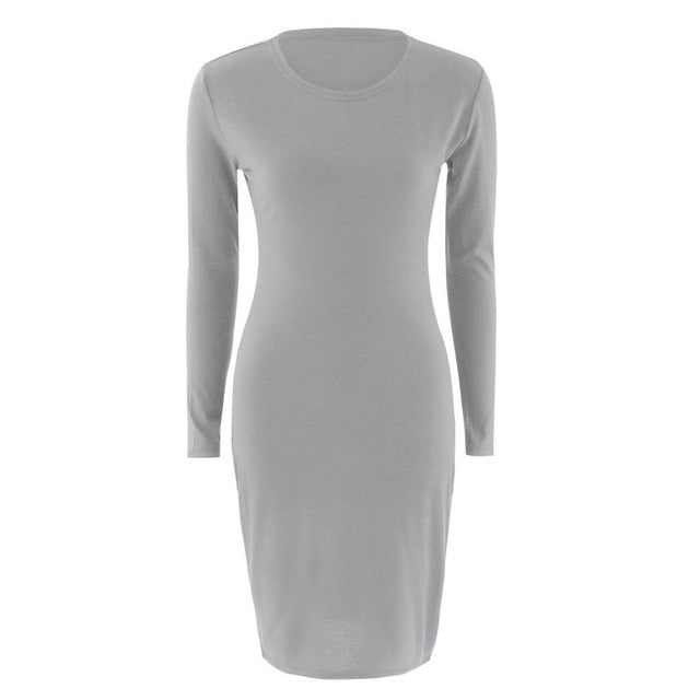 Autumn Spring Women Long Sleeve Dress Bodycon Sexy Slim Fit O-neck Casual Dresses