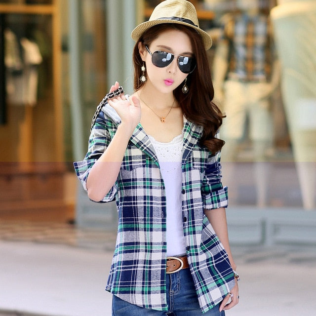 Autumn Women Striped Flannel Shirts Long Sleeve With Hoodie Brand Cotton Blouses Spring Fashion Tops Casual Female Clothing