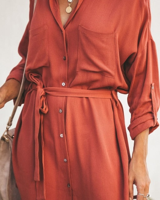 Button Up Dress Orange Knot Hem Shirt Dress Women Long Sleeve Office Ladies Work Dresses Elegant Womens Mini Dress
