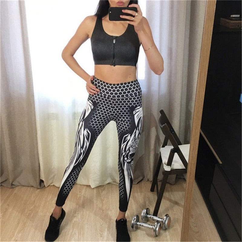 Honeycomb Skull Fitness Legging Solid Color Sexy Fashion Print Leggings Polyester Wings High Waist Women Legging