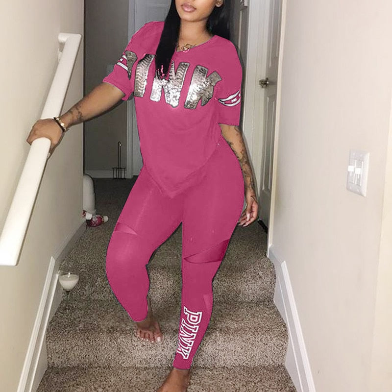 Casual 2 Piece Sets Sexy Womens Sweatsuit Set Letter Print Plus Size 3xl Tops And Skinny Pants Sweat Suits Two Piece Tracksuits