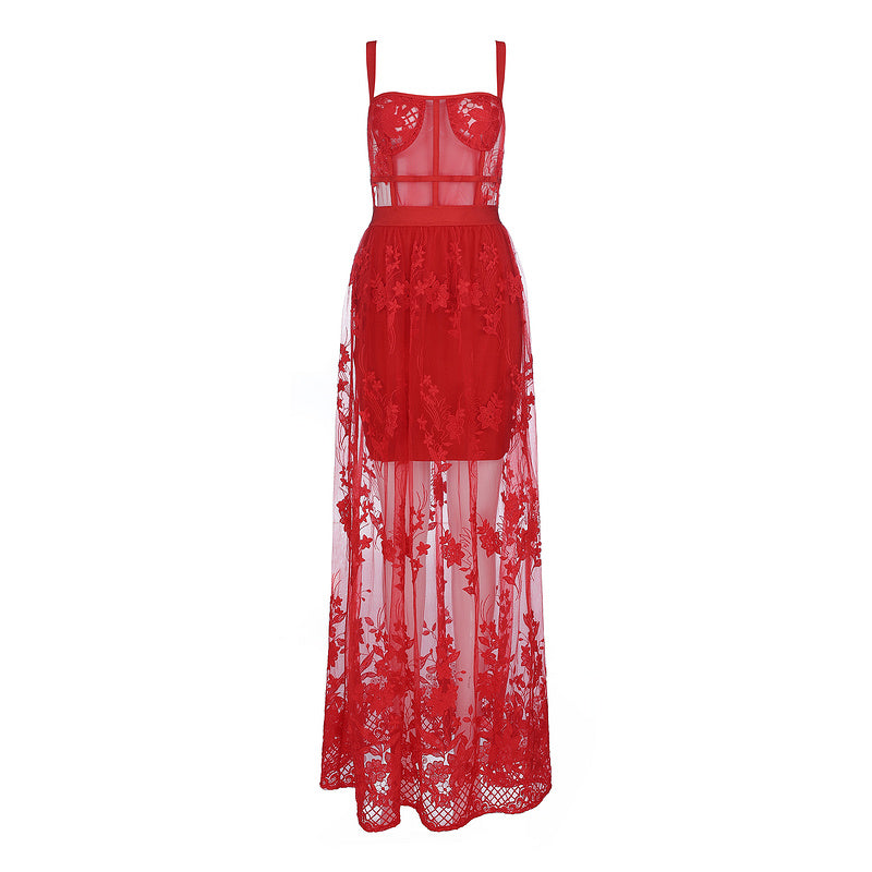 Red Lace Sleeveless Hollow Out Long Rayon Bandage Dress Evening Party Elegant Dress